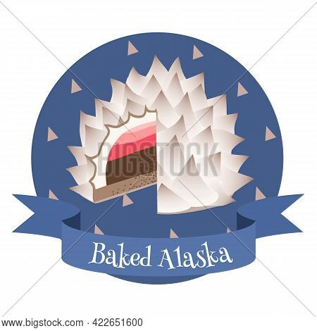 American Dessert Baked Alaska. Colorful Cartoon Style Illustration For Cafe, Bakery, Restaurant Menu