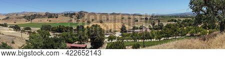 Santa Inez, Ca, Usa - April 3, 2009: San Lorenzo Seminary. Panorama Shot Over Sw Valley Shows Agricu