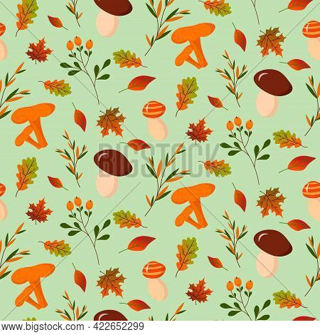 Seamless Pattern With Forest Mushrooms And Autumn Leaves. Vector Illustration. For The Design Of Pri