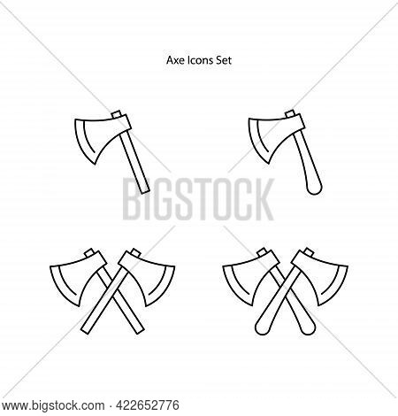 Axe Icons Set Isolated On White Background. Axe Icon Thin Line Outline Linear Axe Symbol For Logo, W