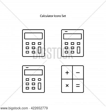 Calculator Icons Set Isolated On White Background. Calculator Icon Thin Line Outline Linear Calculat