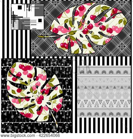 Seamless Abstract Floral Nature Patchwork Ornamental Pattern Background