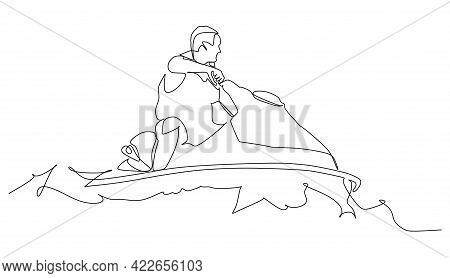 Man On Jet Ski Turn Fast - Continuous One Line Drawing