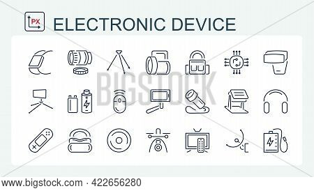 A Set Of Vector Illustrations, Icons Of Electronic Devices, Accessories From A Thin Line. Monitor, D