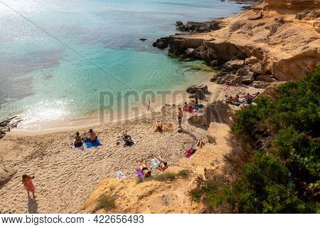 Formentera, Spain : 2021 June 04 : Young People In Formentera Beach Of Calo D Es Mort In Balearic Is