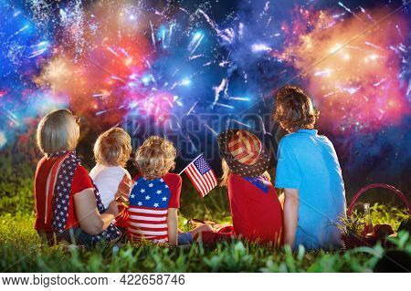 American Family Celebrating Independence Day. Picnic And Fireworks On 4th Of July In America. Usa Fl