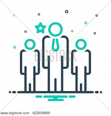Mix Icon For Leader Chief Commander Director Manager Chieftain People Group