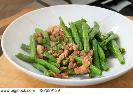 Close Up Stir-fried Cowpeas Or Black-eyed Beans With Minced Pork With Garlic And Soy Sauce, Food In