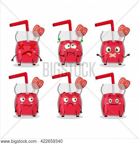 Strawberry Juice Cartoon Character With Nope Expression
