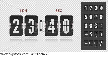 Flip Countdown Number On Transparent Vector Template. Vintage Clock Time Counter. Scoreboard Number