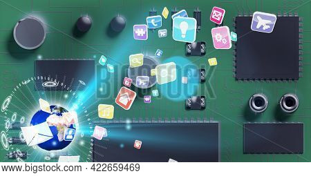 Composition of glowing globe and digital icons over computer processor circuit board server. global connections, technology and digital interface concept digitally generated image.