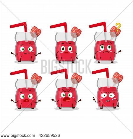 Cartoon Character Of Strawberry Juice With What Expression