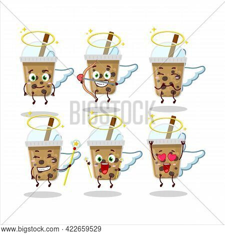 Chocolate Coffee With Boba Cartoon Designs As A Cute Angel Character