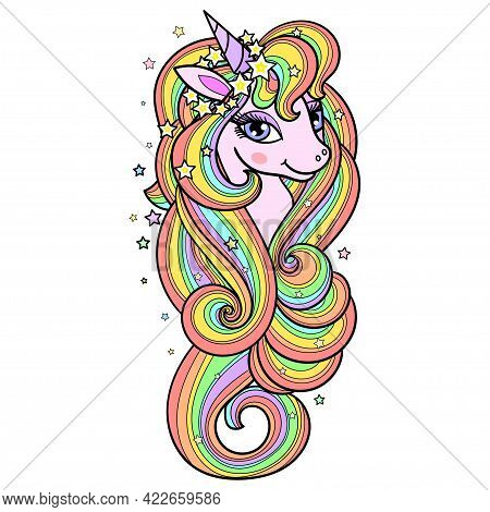 The Head Of A Rainbow Unicorn With A Long Mane. Cute Fantastic Animal. For The Design Of Prints, Pos