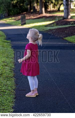 Mackay, Queensland, Australia - June 2021: A Young Girl Walking On A Path Through The Local Botanic