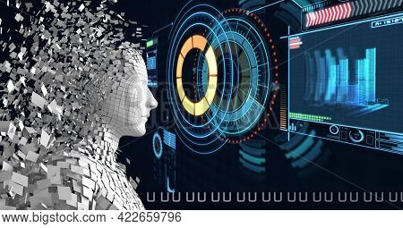 Composition of exploding human bust with data processing over scopes scanning. global connections, technology and digital interface concept digitally generated image.