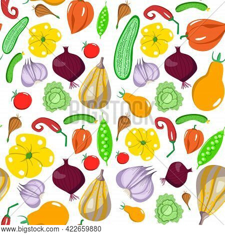 Seamless Pattern With Vegetables In A Cartoon Style. Vector Texture. Flat Icons Pepper, Cabbage, Cuc