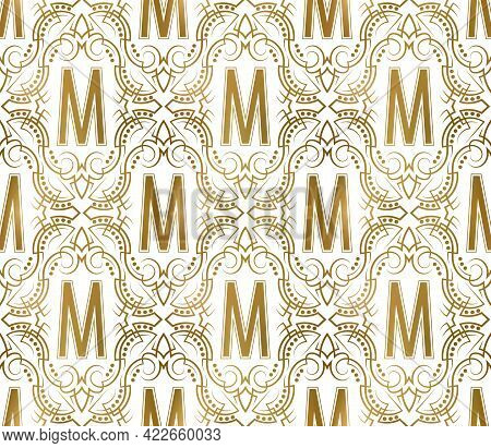 Golden Initial Seamless Pattern With M Letter. Heraldic Vintage Decorative Wallpaper, Fabric Print O