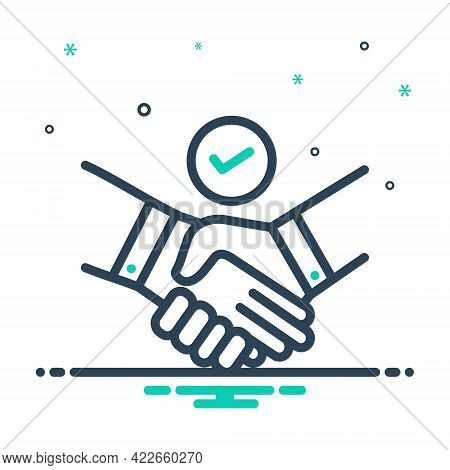 Mix Icon For Deal Pledge Promise Bargain Handshake Cooperation Agreement Unity Together