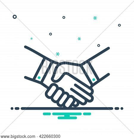 Mix Icon For Handshake Deal Pledge Promise Bargain Cooperation Agreement Unity Together