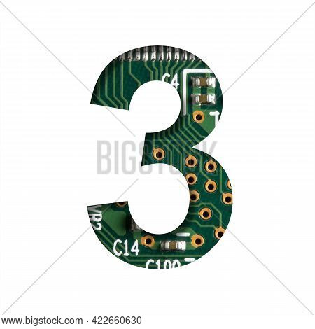Digital Technology Font. Digit Three, 3 Cut Out Of White On The Printed Digital Circuit Board With M
