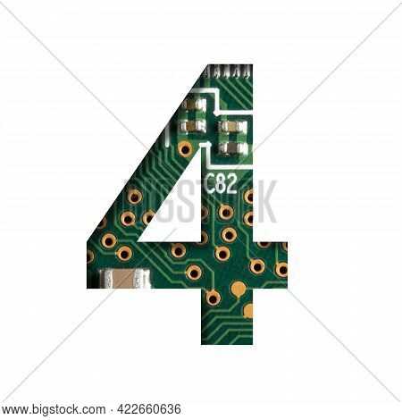 Digital Technology Font. Digit Four, 4 Cut Out Of White On The Printed Digital Circuit Board With Mi
