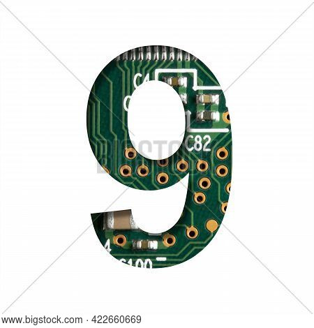 Digital Technology Font. Digit Nine, 9 Cut Out Of White On The Printed Digital Circuit Board With Mi