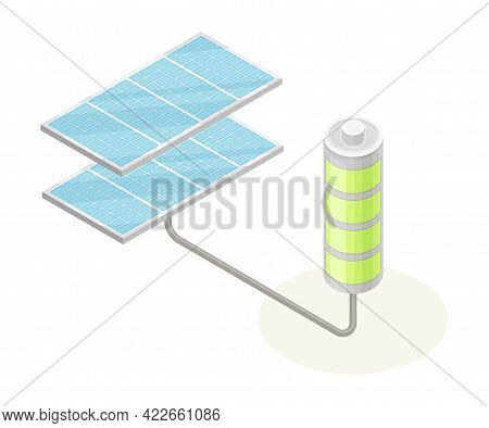 Solar Panel With Cells And Battery As Ecology And Environment Protection And Conservation Isometric