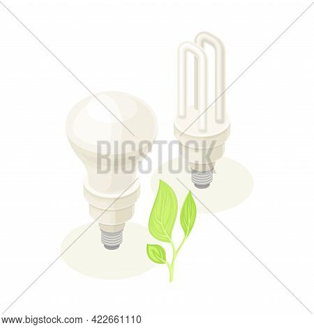 Electric Lightbulb As Ecology And Environment Protection And Conservation Isometric Vector Illustrat