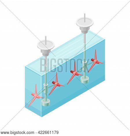Hydropower Or Water Power Station As Ecological Resource Of Electric Power Isometric Vector Illustra