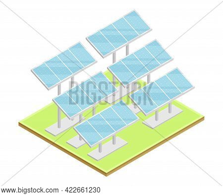 Solar Panel Or Photo-voltaic Module As Ecological Resource Of Electric Power Isometric Vector Illust