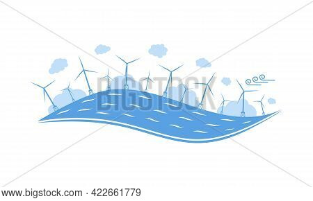 Wind Turbines In The Sea. Wind Towers In The Ocean. Offshore Wind Turbine Farm Concept. Isolated Fla