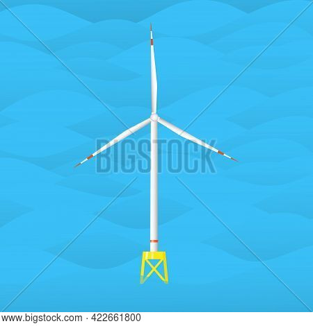 Wind Turbine In The Sea. Wind Tower In The Ocean. Offshore Wind Generator. Isolated Flat Vector Illu