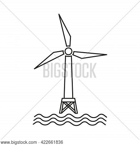 Offshore Wind Generator Icon. Wind Turbine In The Sea. Wind Tower In The Ocean. Isolated Vector Illu