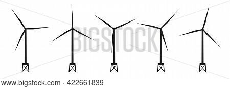 Set Of Offshore Wind Generator Icons. Wind Turbine Silhouettes. Wind Towers. Isolated Black And Whit