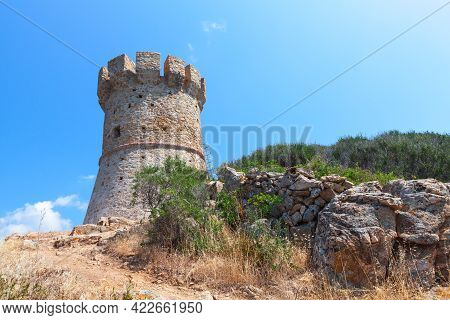 Campanella Tower One Of The Genoese Towers In Corsica, A Series Of Coastal Forts Constructed By The