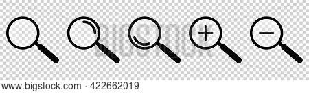 Search Icon. Set Of Magnifying Glass Instrument Or Loupe Sign. Vector Illustration Isolated On Trans