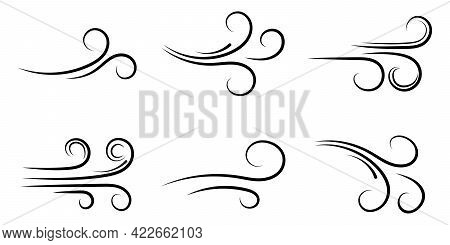 Set Wind Blow Line Icons. Blowing Wind Black Outline Icons. Design For For App And Website