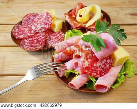 Cold Smoked Meat Plate, Antipasto Set Platter Wooden Plate And Cheese. Cold Smoked Meat Plate With S