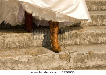 Bride'S Cowboy Boots Under Her Dress