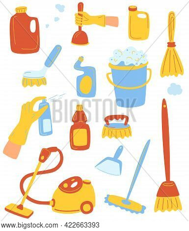 Household Supplies And Cleaning Set. Tools Of Housecleaning. Set Of Cleaning Supplies. The Concept O