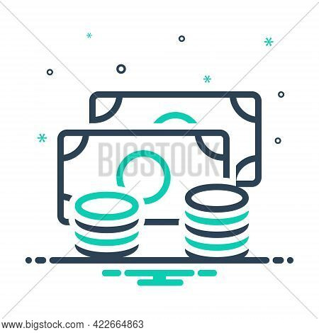 Mix Icon For Coins Dollar Legal-tender Currency Finance Chips Money Cash Payment Amount