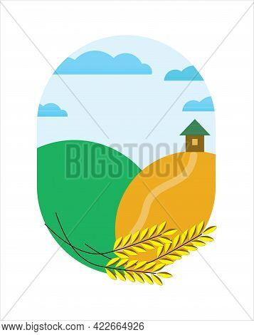 Background Corn Field. Agricultural Work In Field Illustration