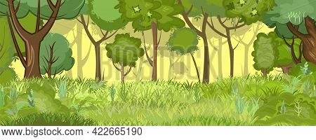 Overgrown Glade At The Edge Of A Light Summer Forest. Trees In The Grass. Flat Cartoon Style. Rural