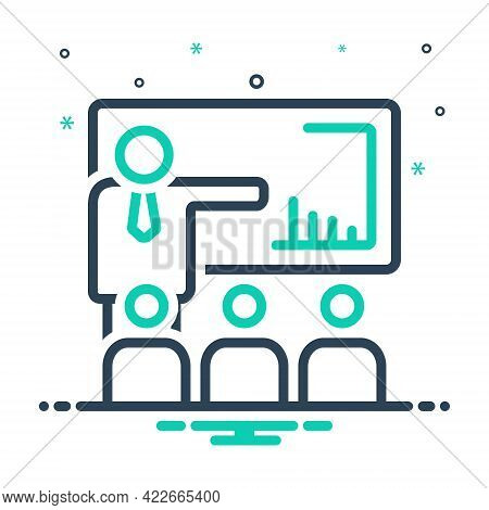 Mix Icon For Presentation Conference Seminar Convention Audience Desk Communication Lecture