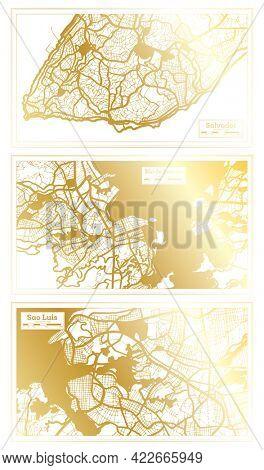 Rio de Janeiro, Sao Luis and Salvador Brazil City Map Set in Retro Style in Golden Color. Outline Map.