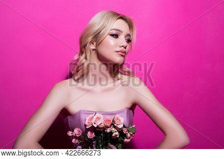 Beauty Woman. Beautiful Face Of Female Fashion Model.