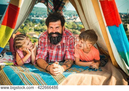 Fathers Day. Family Camping. Outdoor Vacation Concept. Happy Father With Children Camp.