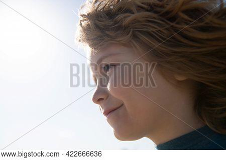 Head Close Up. Close Up Head Shot Of Child. Kids Face, Little Boy Profile Portrait.