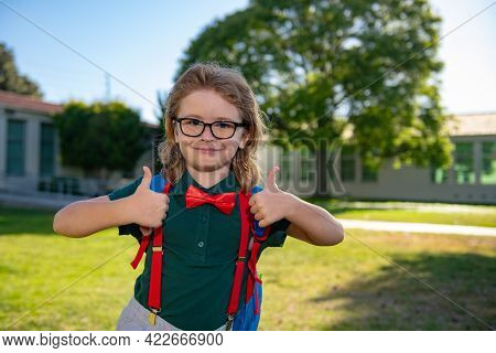 Happy Smiling Schoolboy Pupil In Glasses With Thumb Up Is Going To School For The First Time. Child
